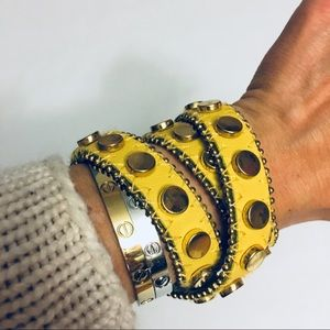 Jewelry - Yellow leather wrap bracelet with gold stud rivets
